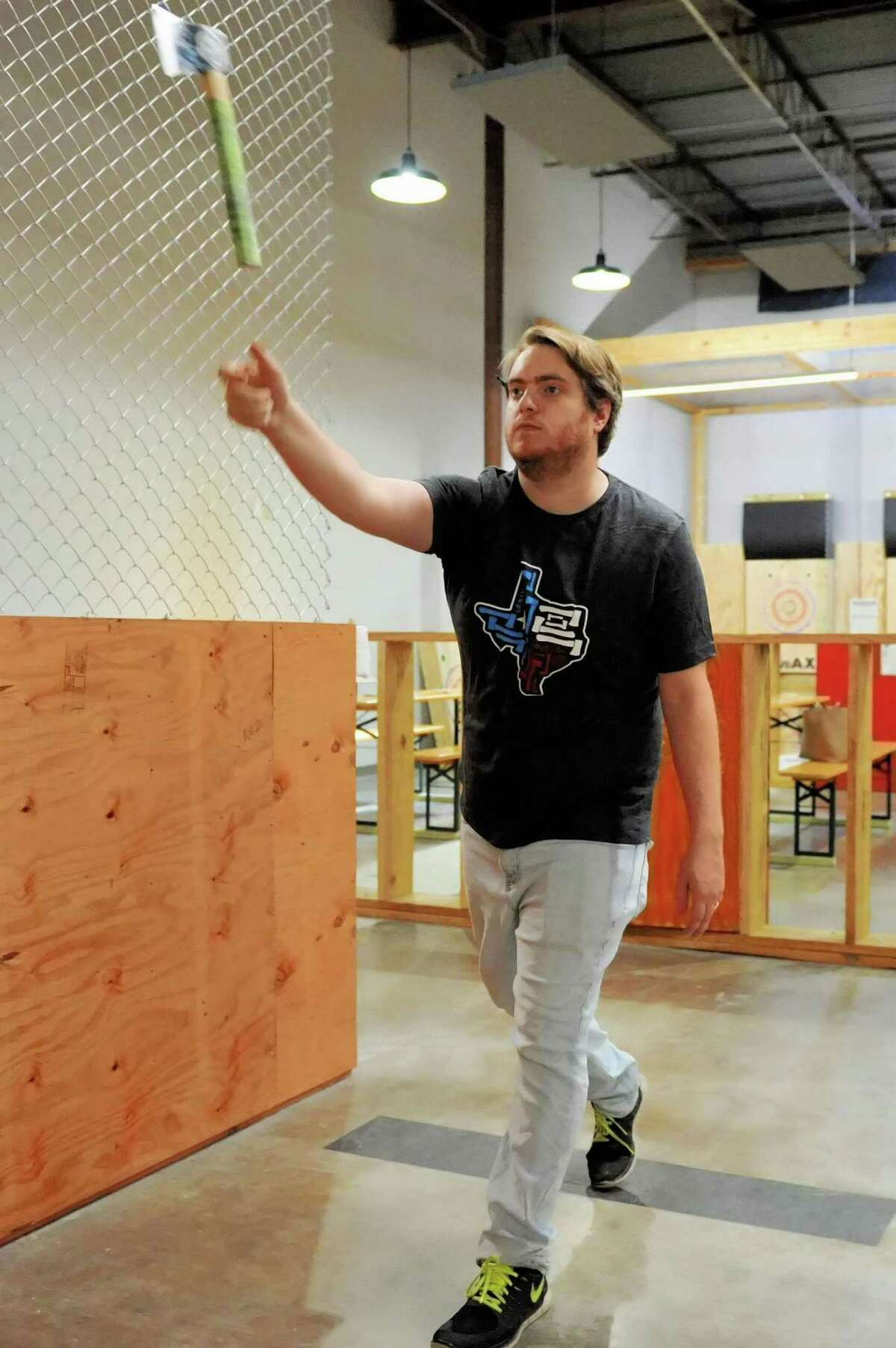 Kyle Hough tosses an axe at a target at Urban Axes, Houston, TX on Saturday, January 4, 2020.