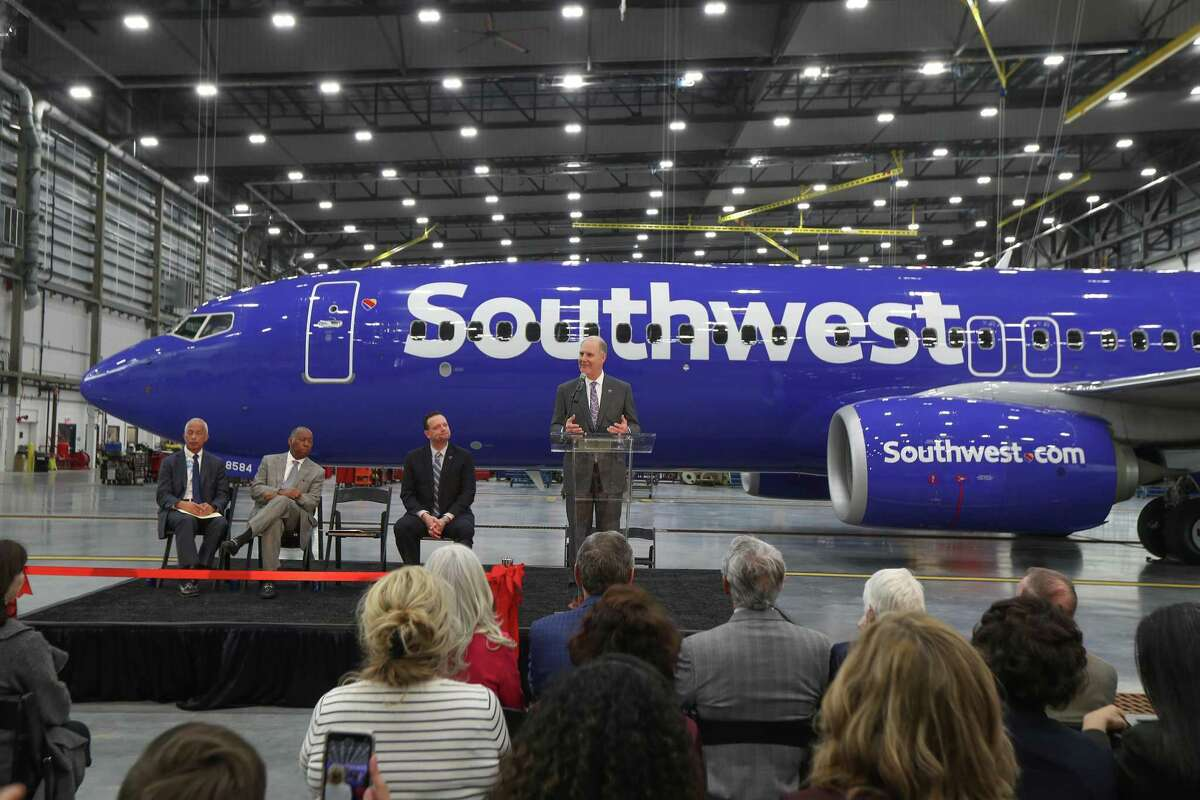 Gary Kelly, Southwest Airlines Chairman of the Board and CEO speaks to a crowd during the Southwest Airlines opening of a $125 million maintenance facility at Hobby Airport Wednesday, Jan. 8, 2020, in Houston.