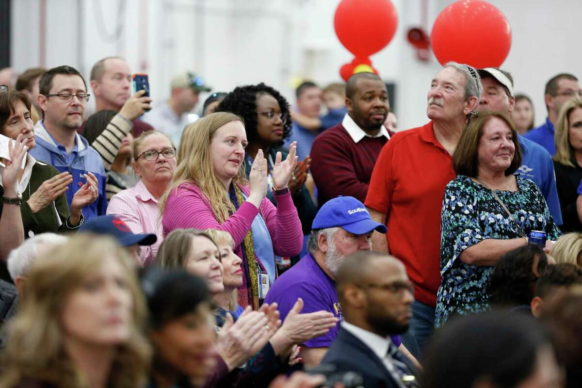 Attendees take in the celebration of Southwest Airlines opening a $125 million maintenance facility at Hobby Airport Wednesday, Jan. 8, 2020, in Houston.