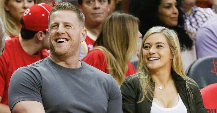 HOUSTON, TX - APRIL 16: J.J. Watt of the Houston Texans and girlfriend Kealia Ohai of the Houston Dash court side during Game One of the first round of the Western Conference 2017 NBA Playoffs at Toyota Center on April 16, 2017 in Houston, Texas. (Photo by Bob Levey/Getty Images)