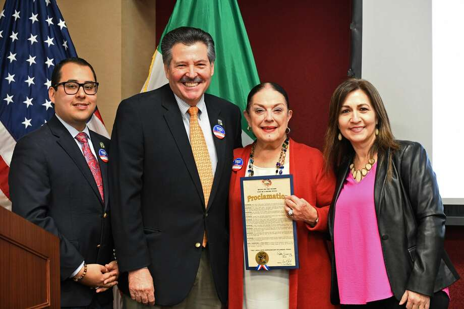 Council member Alberto Torres Jr., Mayor Pete Saenz, LCW chair Sylvia Bruni and Council Member Nelly Vielma pose for a photo after announcing the Jan. 7 proclamation during the Yes, I Will Vote Campaign kickoff luncheon at the IBC administration building, Tuesday, Jan. 7, 2020. Photo: Christian Alejandro Ocampo