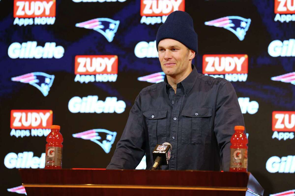 FOXBOROUGH, MASSACHUSETTS - JANUARY 04: Tom Brady #12 of the New England Patriots addresses the media in a press conference following the Patriots 20-13 loss to the Tennessee Titans in the AFC Wild Card Playoff game at Gillette Stadium on January 04, 2020 in Foxborough, Massachusetts. (Photo by Maddie Meyer/Getty Images)