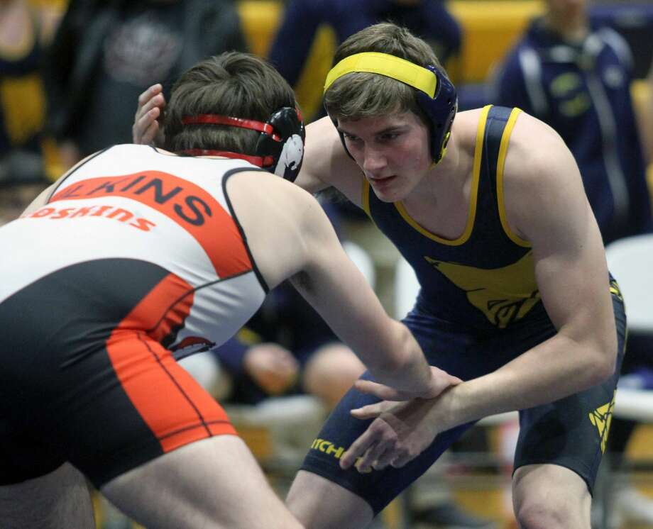 The Bad Axe wrestling team picked up a victory over Sandusky before dropping a matchup against Marlette at home on Wednesday, Jan. 8. Photo: Eric Rutter/Huron Daily Tribune
