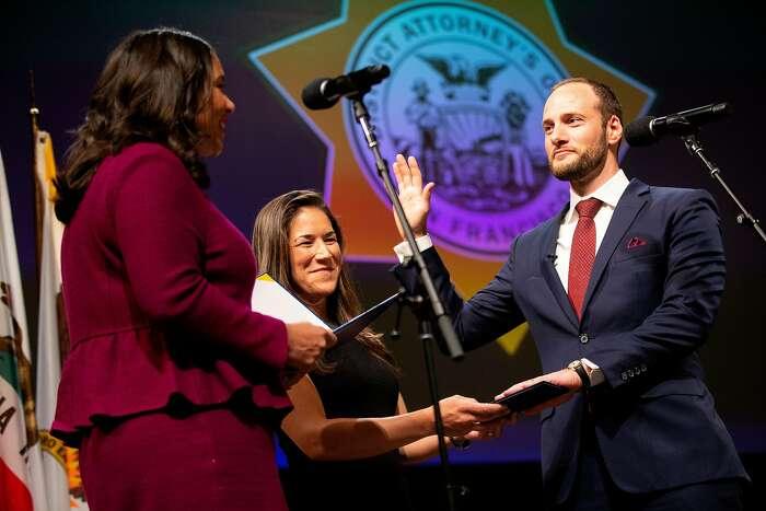 From left: Mayor London Breed with Valerie Block as Chesa Boudin is inaugurated as San Francisco's new district attorney, Wednesday, Jan. 8, 2020, in San Francisco, Calif. Boudin's inauguration was held at Herbst Theater.