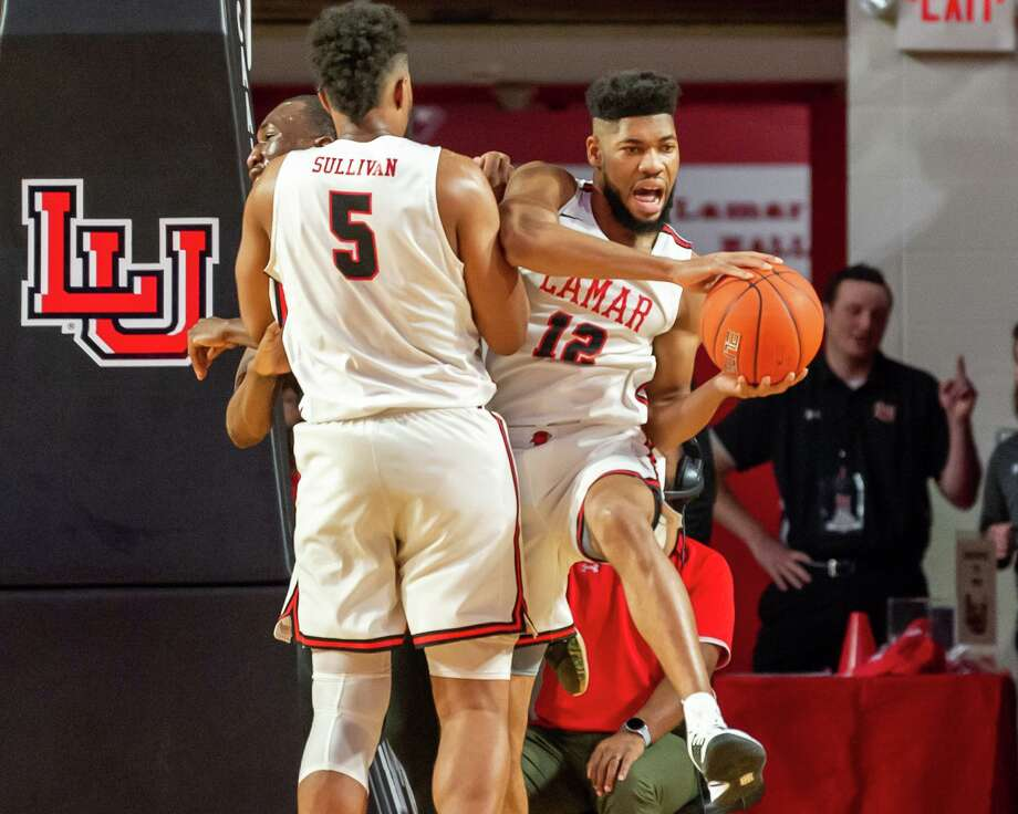 V.J. Holmes (12) brings down a rebound as the Lamar University men's basketball faced Nicholls State University Colonels on Wednesday, January 8, 2020. Fran Ruchalski/The Enterprise Photo: Fran Ruchalski/The Enterprise / 2019 The Beaumont Enterprise