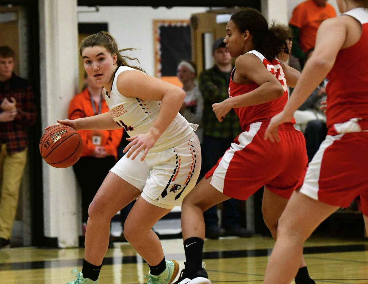 Cambridge's Fiona Mooney drives to the basket during a game against Mechanicville on Wednesday, Jan. 8, 2020 in Cambridge, N.Y. (Lori Van Buren/Times Union)