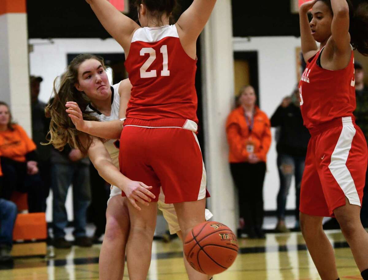 Cambridge's Fiona Mooney passes the ball under the basket during a game against Mechanicville on Wednesday, Jan. 8, 2020 in Cambridge, N.Y. (Lori Van Buren/Times Union)