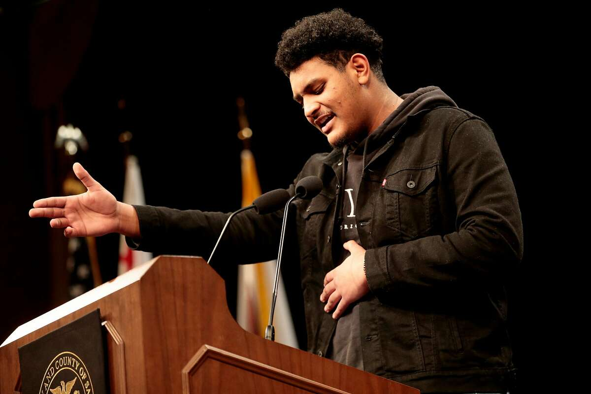 Zouhair Mussa, 16, of Youth Speaks, during Chesa Boudin's inauguration as San Francisco's new district attorney, Wednesday, Jan. 8, 2020, in San Francisco, Calif. Boudin's inauguration was held at Herbst Theater.