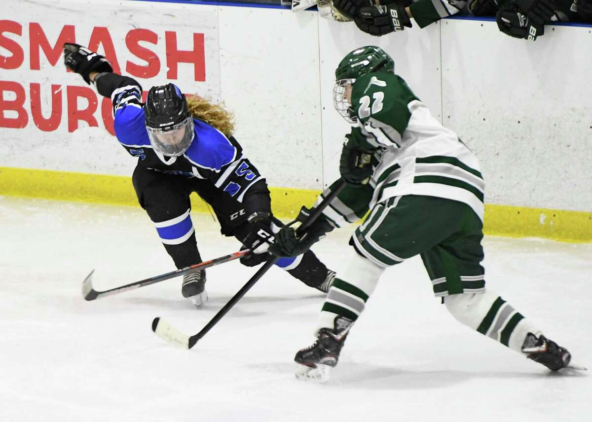GMSSV forward Maddie LaBel attempts to block a pass by Shenendehowa defenseman Joe Celtruda during a game at Capital Arena in Clifton Park, N.Y. on Wednesday, Jan. 8. 2020. (Jenn March, Special to the Times Union)