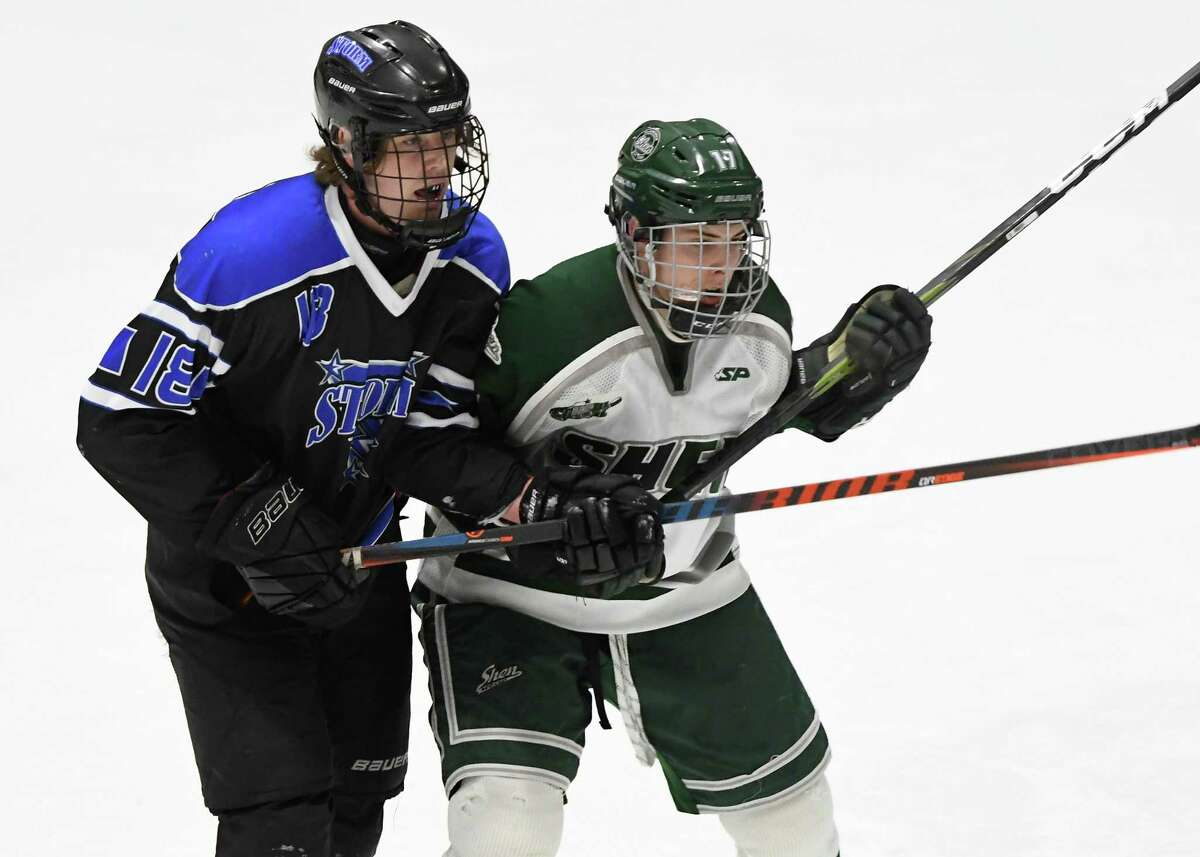 GMSSV defenseman Cameron Gagnon pressures Shenendehowa forward David Feygin during a game at Capital Arena in Clifton Park, N.Y. on Wednesday, Jan. 8. 2020. (Jenn March, Special to the Times Union)