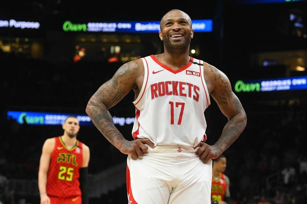 Houston Rockets forward PJ Tucker reacts to a foul called on the Atlanta Hawks in the final moments of an NBA basketball game Wednesday, Jan. 8, 2020, in Atlanta. Houston won 122-115. (AP Photo/John Amis)