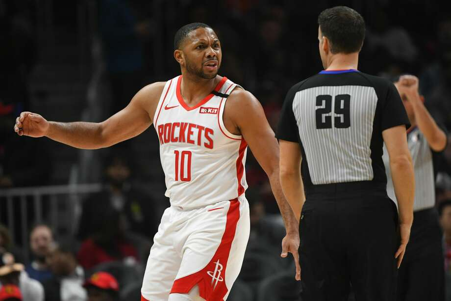 PHOTOS: 2019-20 Rockets game-by-game Houston Rockets guard Eric Gordon (10) reacts after being called for a foul by referee Mark Lindsay during the second half of an NBA basketball game Wednesday, Jan. 8, 2020, in Atlanta. Houston won 122-115. (AP Photo/John Amis) >>>See how the Rockets have fared in each game this season ... Photo: John Amis/Associated Press