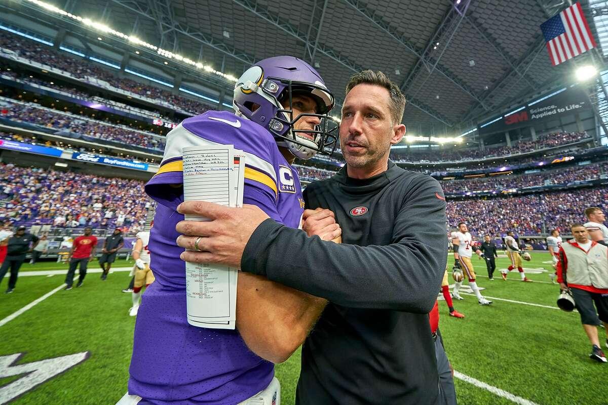 San Francisco 49ers head coach Kyle Shanahan congratulates Minnesota Vikings Quarterback Kirk Cousins (8) after the NFL game between the San Francisco 49ers and the Minnesota Vikings on September 09, 2018 at U.S. Bank Stadium in Minneapolis, MN.