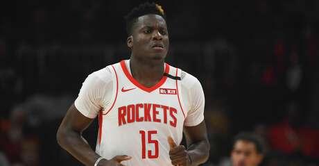 Houston Rockets center Clint Capela (15) comes upcourt during an NBA basketball game against the Atlanta Hawks, Wednesday, Jan. 8, 2020, in Atlanta. (AP Photo/John Amis)