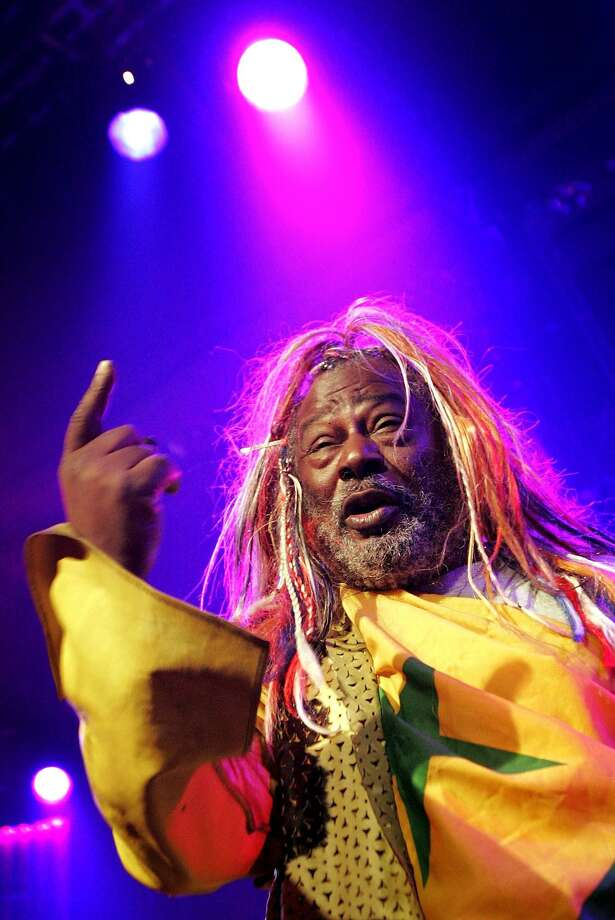 U.S. singer George Clinton performs with his band the Parliament Funkadelic at the Miles Davis Hall, during the Groove Nation Night of the 38th Montreux Jazz Festival, in Montreux, Switzerland, late Friday, July 16, 2004. (AP Photo/Keystone, Fabrice Coffrini)   ** NO SALES, FOR EDITORIAL USE ONLY ** Photo: FABRICE COFFRINI / Fabrice Coffrini/Associated Press / AP2004