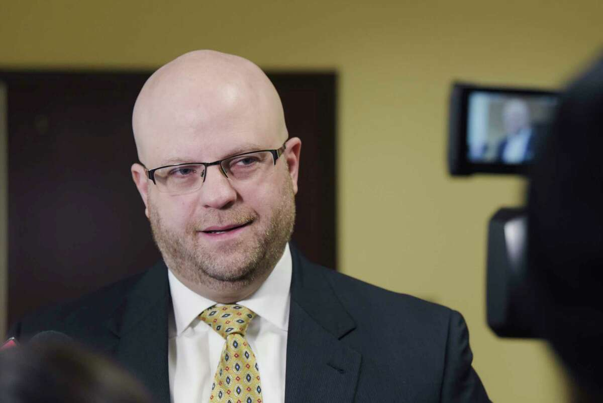 Attorney Joel Abelove talks to members of the press following a court appearance on Thursday, Jan. 9, 2020, in Albany, N.Y. Abelove and his client, Brian Angelo, known as DJ Iroc, were in court to ask for the judge to order that Abelove be allowed to examine a local radio station where it is alleged that Angelo assaulted a victim. (Paul Buckowski/Times Union)