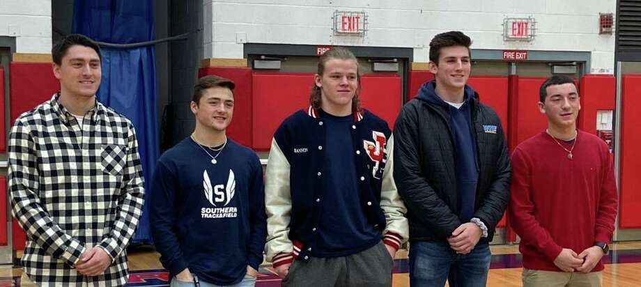 Caleb Tondora, Nick Costantini, Nolan Bannon, Maxwell Tavitian and Michael Simonelli were honored, along with Jordan Macdonald, as Foran athletes making All-State. Photo: Contributed Photo / Foran High Athletics / Milford Mirror