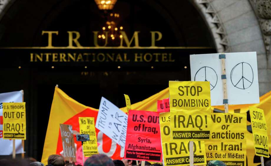 Anti-war activists demonstrate at the Trump International Hotel in Washington, D.C., last week. Readers differ on the president's decision to kill Iran Gen. Qassem Soleimani. Photo: Andrew Caballero-Reynolds / AFP / Getty Images / AFP or licensors