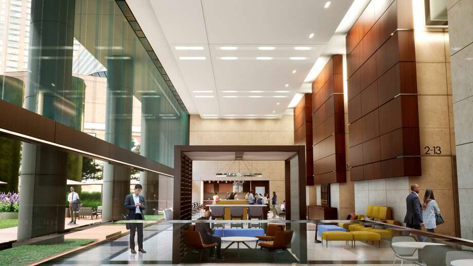 The north lobby and coffee lounge provide new spaces for tenants and guests at 1001 Fannin. Photo: Colvill Office Properties
