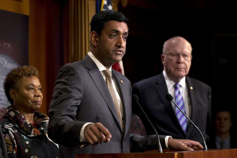 Rep. Ro Khanna, D-Fremont, accompanied by Rep. Barbara Lee, D-Oakland, and Sen. Patrick Leahy, D-Vt., speaks in favor of a war powers resolution passed in the House. Photo: Jose Luis Magana / Associated Press