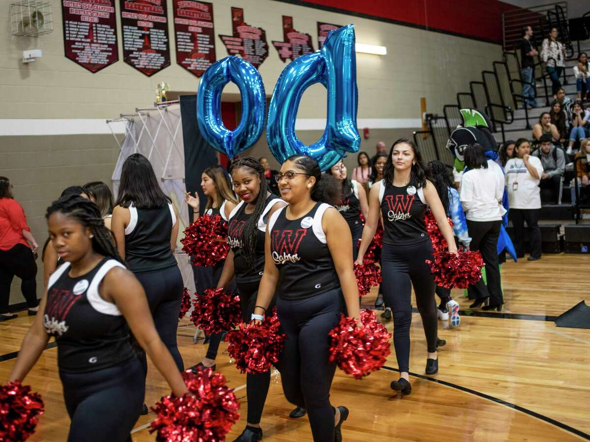 The dance team files into the gym before a pep rally at Karen Wagner High School in Judson ISD on Thursday, Jan. 9, 2020. All of the school's seniors have signed up for Alamo Promise, the free tuition program launched this year by the Alamo Colleges.