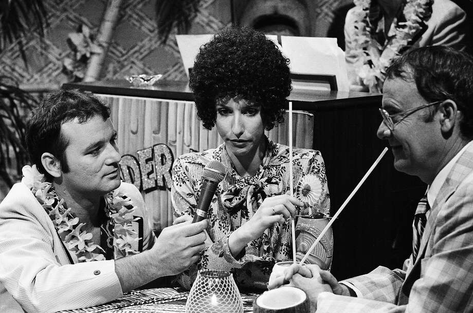 """Buck Henry (right) performs in a skit on """"Saturday Night Live"""" in 1980 with fellow comedians Bill Murray and Laraine Newman. Photo: Alan Singer / NBC 1980"""