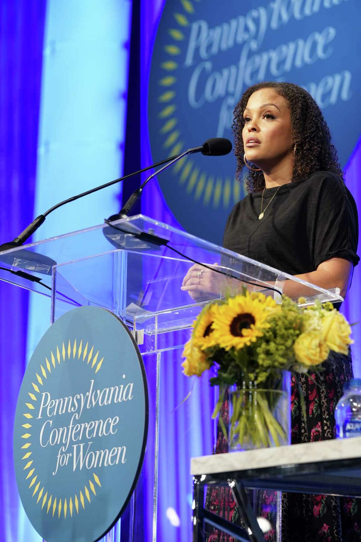 Jesmyn Ward, MacArthur Genius, two-time National Book Award winner, novelist, memoirist and essayist, speaks on stage during Pennsylvania Conference For Women 2019 at Pennsylvania Convention Center on October 02, 2019 in Philadelphia, Pennsylvania. (Photo by Marla Aufmuth/Getty Images for Pennsylvania Conference for Women 2019)