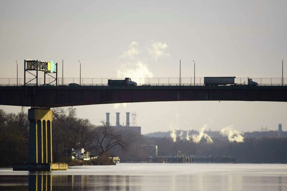 A view looking south on the Hudson River as vehicles are driven over the Dunn Memorial Bridge on Thursday, Jan. 9, 2020, in Albany, N.Y. (Paul Buckowski/Times Union)