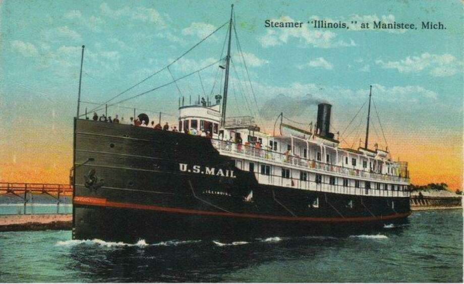 The steamer Illinois was one of the frequent visitors to Manistee in the 1890s when the most popular mode of transportation around the Great Lakes was by boat.