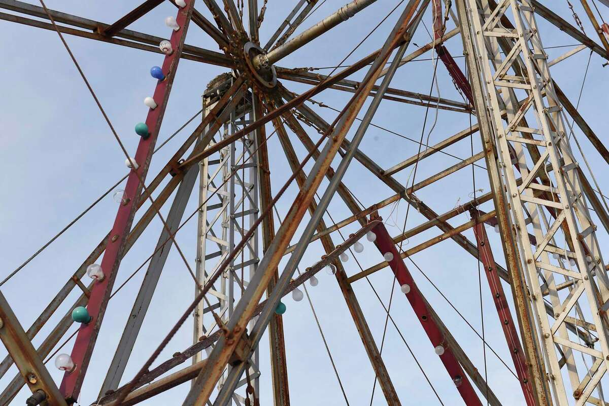 The ferris wheel on the grounds of the former Sherman's Amusement Park on Thursday, Jan. 9, 2020 in Caroga Lake, N.Y. The Caroga Lake Arts Collective now owns the park and plans to restore the Ferris wheel and use other parts of the park for performances. (Lori Van Buren/Times Union)