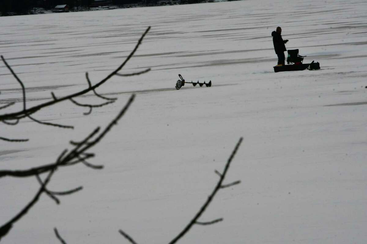A ice fisherman is seen on Caroga Lake on Thursday, Jan. 9, 2020 in Caroga Lake, N.Y. (Lori Van Buren/Times Union)