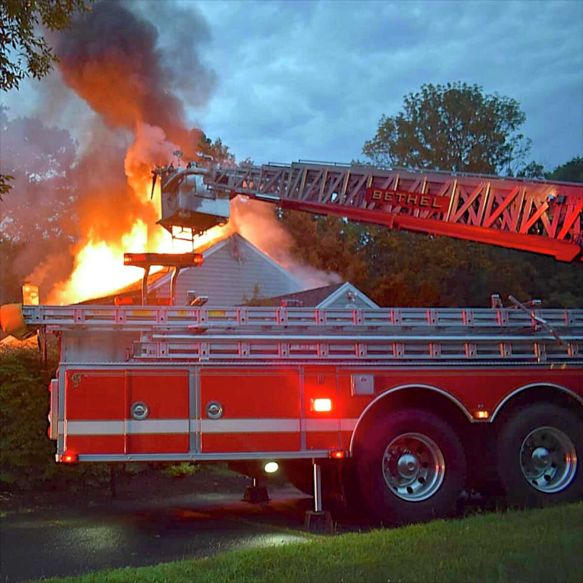 The Bethel Volunteer Fire Department and Stony Hill Fire Department train on the aerial ladder truck. Controversy over the repair the ladder truck has led a call for greater oversight of the volunteer fire departments.