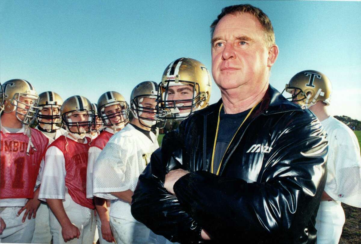 An undated file photo of Trumbull High School football coach Jerry McDougall. McDougall, a pillar of Connecticut and national high school athletics for more than 50 years, died Wednesday morning. He was 76.