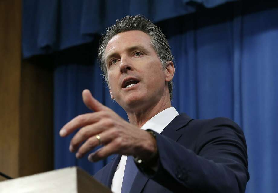 FILE - In this July 23, 2019, file photo, Gov. Gavin Newsom talks to reporters at his Capitol office, in Sacramento, Calif. Newsom and the the York family had some contentious times when the location of the 49ers' new stadium was still under discussion. Photo: Rich Pedroncelli, Associated Press