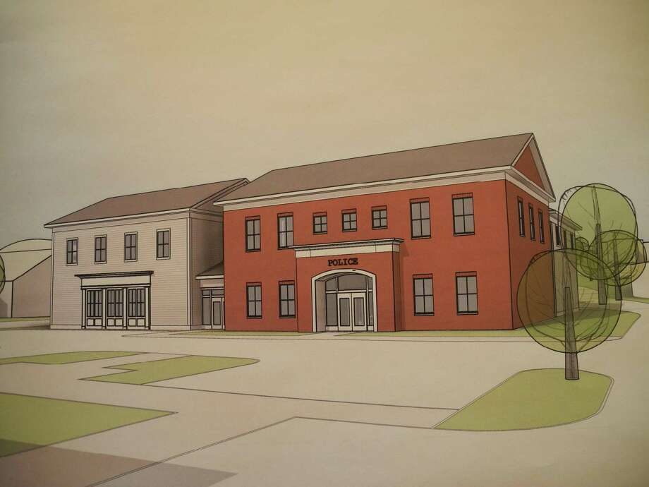 The facade of the proposed police station would be a combination of brick and clapboard. Photo: Contributed Photo / Tecton Architects / Wilton Bulletin Contributed