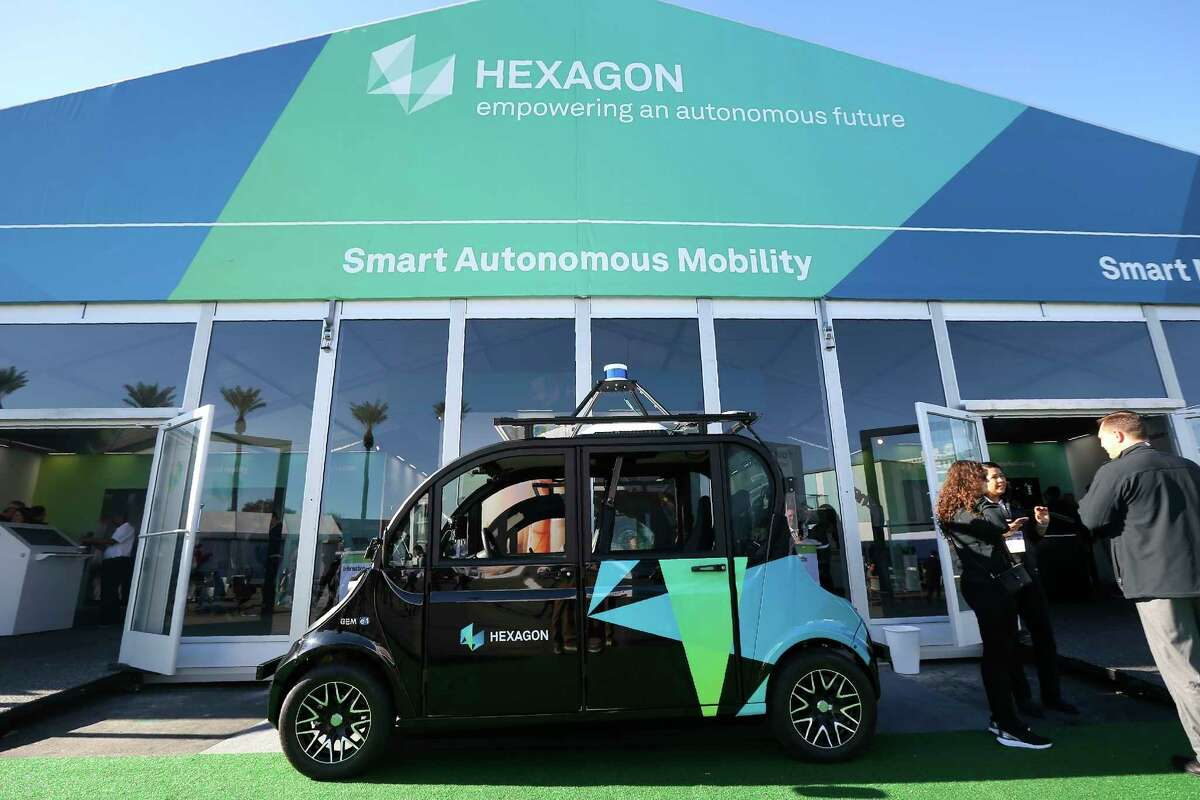 The Hexagon pavilion shows off a multitude of their autonomous solutions, software, and sensors during the CES tech show Wednesday, Jan. 8, 2020, in Las Vegas. (AP Photo/Ross D. Franklin)
