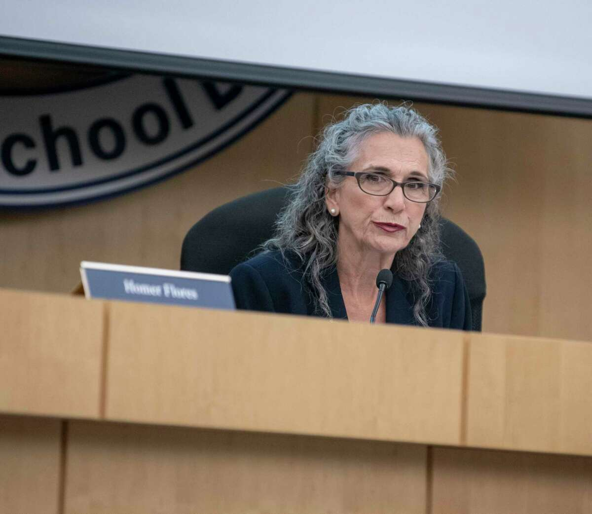 South San Antonio ISD trustee Connie Prado speaks during a special meeting on Sept. 9, 2019. Prado, 71, is seeking the District 4 seat on the Alamo Colleges board.