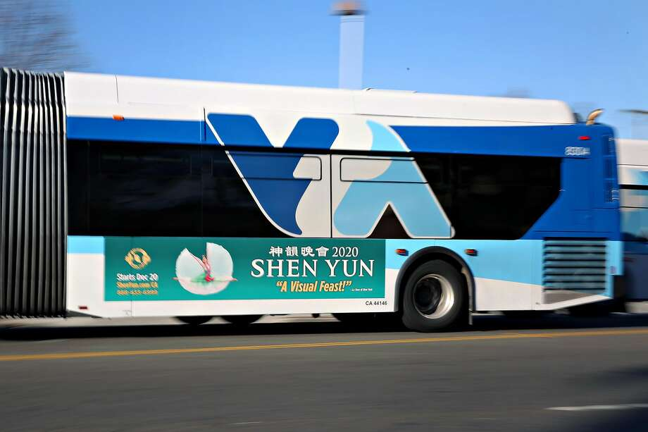 A Shen Yun ad is seen on the side of a bus traveling down Santa Clara Street on Tuesday, January 7, 2020 in San Jose, Calif. Photo: Lea Suzuki, The Chronicle