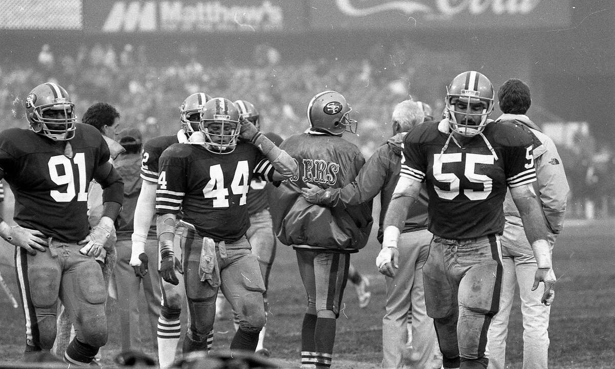 The San Francisco 49ers are upset by the MinnesotaVikings in the playoffs, January 9, 1988 Larry Roberts, Tom Rathman, and Jim Fahnhorst