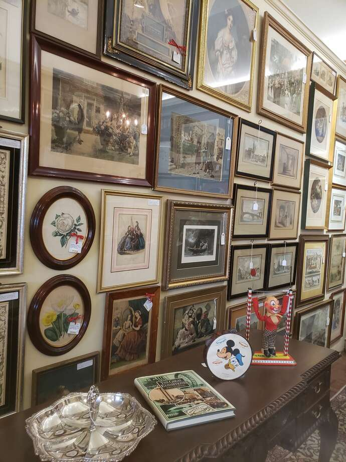 Retired Chronicle design editor Madeleine McDermott Hamm is getting out of the antiques business. Her inventory at the Antique Pavilion on Westheimer includes framed antique art. Photo: Madeleine McDermott Hamm