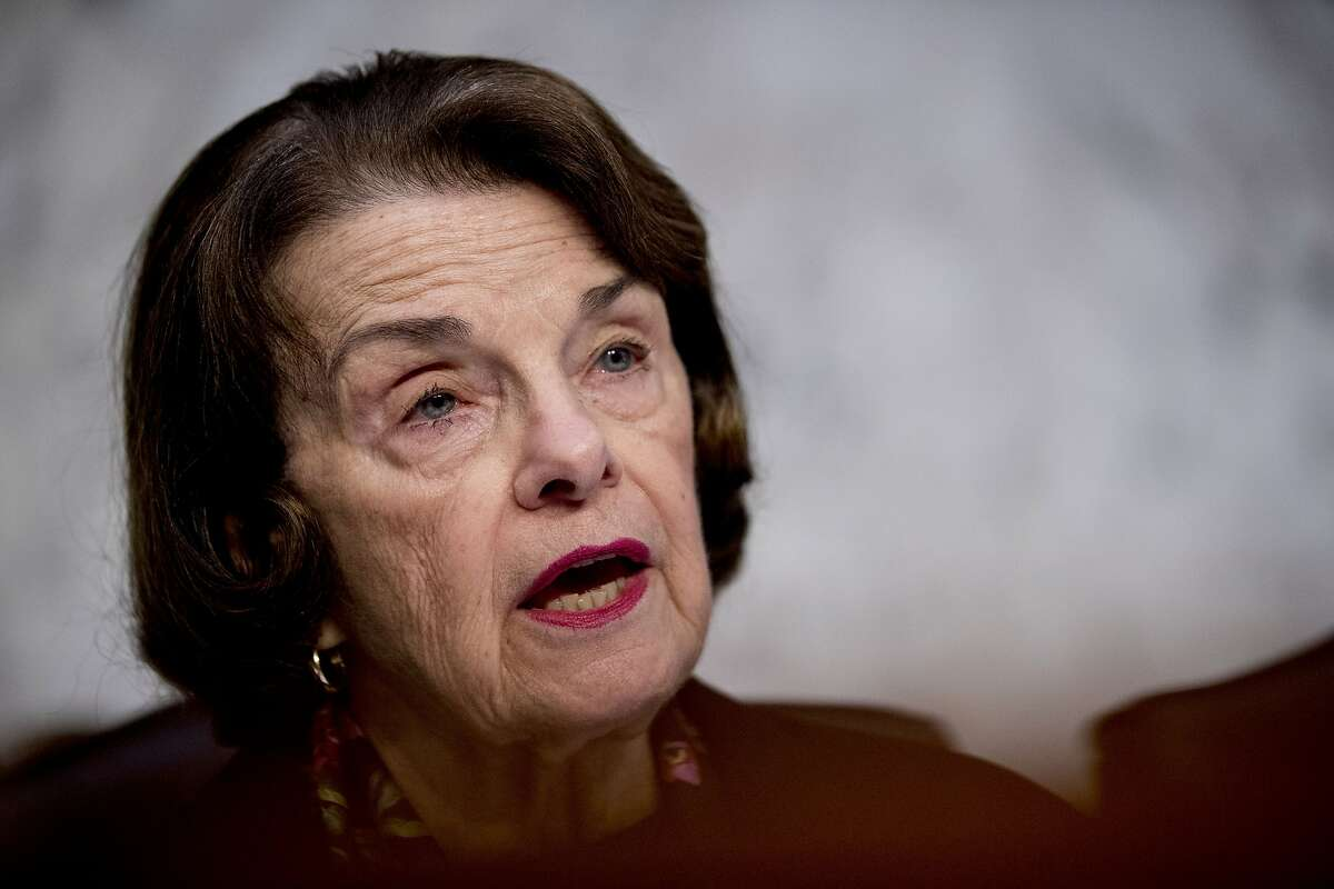 Ranking Member Dianne Feinstein, D-Calif., speaks as Department of Justice Inspector General Michael Horowitz testifies at a Senate Judiciary Committee hearing on the Inspector General's report on alleged abuses of the Foreign Intelligence Surveillance Act, Wednesday, Dec. 11, 2019, on Capitol Hill in Washington. (AP Photo/Andrew Harnik)