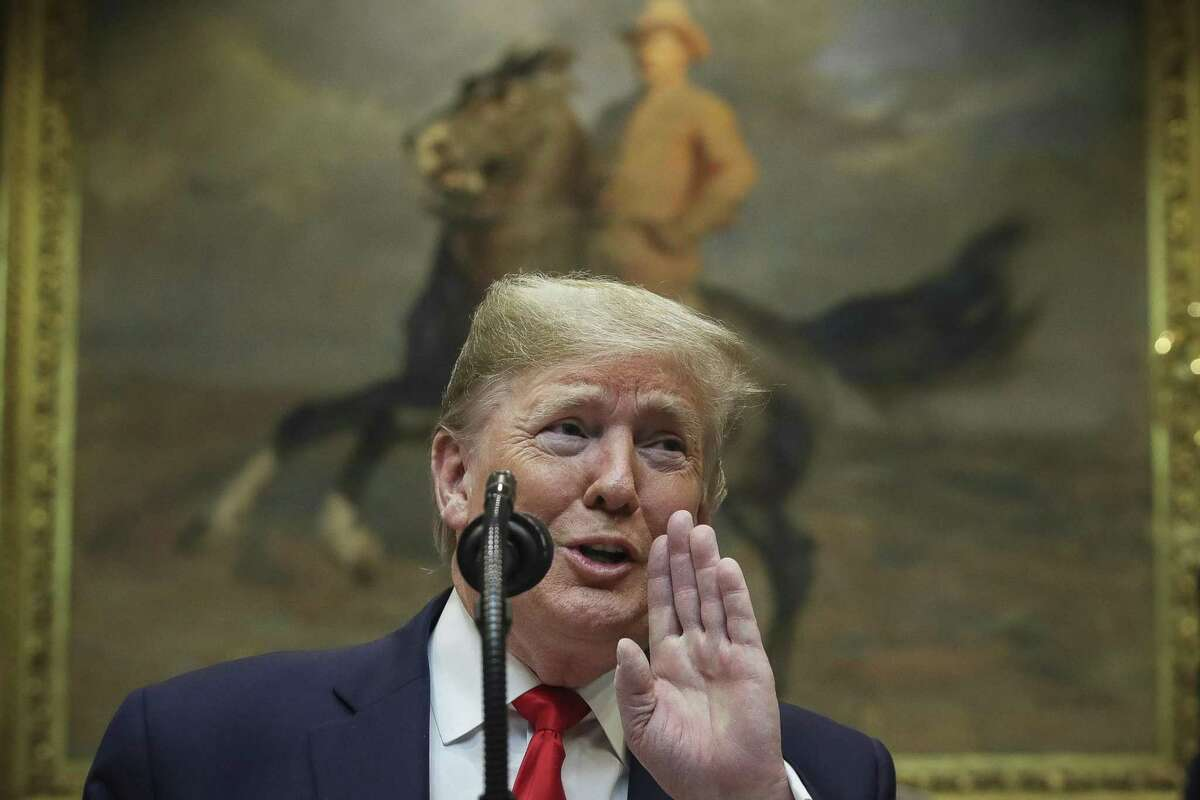 : U.S. President Donald Trump speaks during an event to unveil significant changes to the National Environmental Policy Act, in the Roosevelt Room of the White House on January 9, 2020 in Washington, DC. The changes to the nations landmark environmental law would make it easier for federal agencies to approve infrastructure projects without considering climate change. President Trump also took several questions from reporters, including questions of Iran and impeachment.
