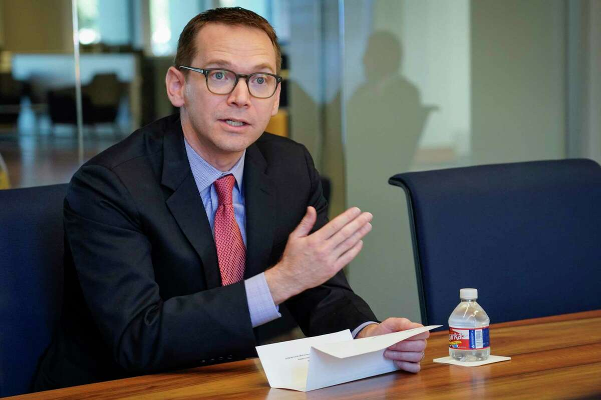 Texas Education Commissioner Mike Morath speaks to the Houston Chronicle's editorial board on Tuesday, Dec. 17, 2019,making his first public comments on his decision to replace Houston ISD's school board during the interview.