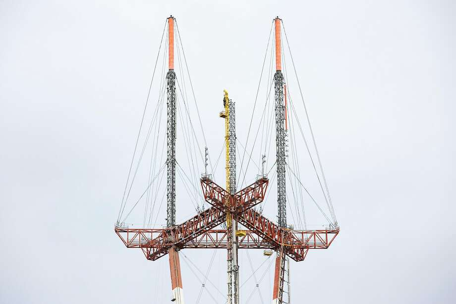 An antenna was removed from Sutro Tower so its broadcast equipment could be upgraded. Photo: Santiago Mejia / The Chronicle