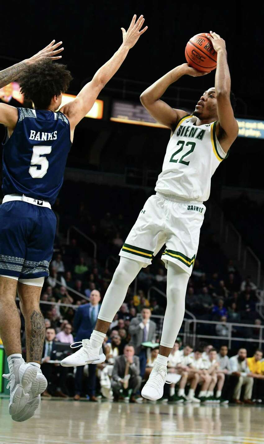 Siena's Jalen Pickett puts up a jumper during a game against Saint Peter's at the Times Union Center on Thursday, Jan. 9, 2020 in Albany, N.Y. (Lori Van Buren/Times Union)