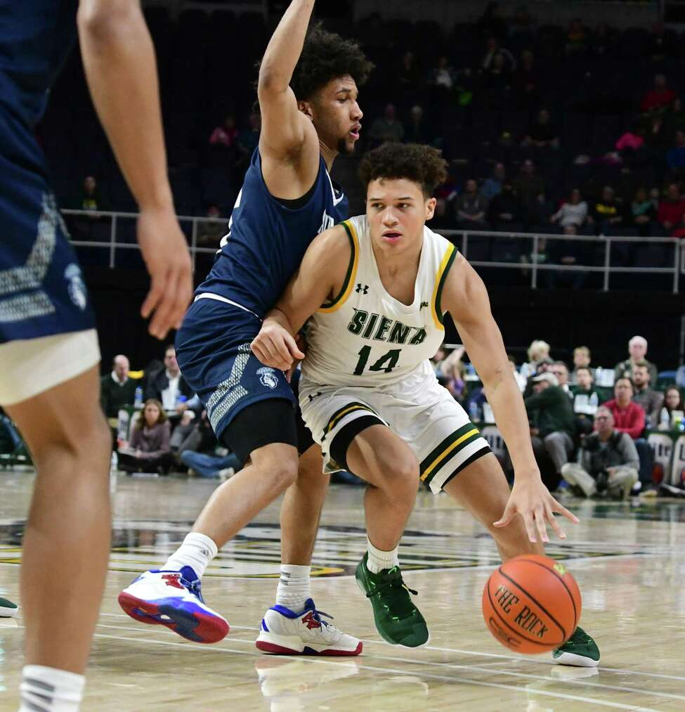 Siena's Jordan King drives to the basket during a game against Saint Peter's at the Times Union Center on Thursday, Jan. 9, 2020 in Albany, N.Y. (Lori Van Buren/Times Union)