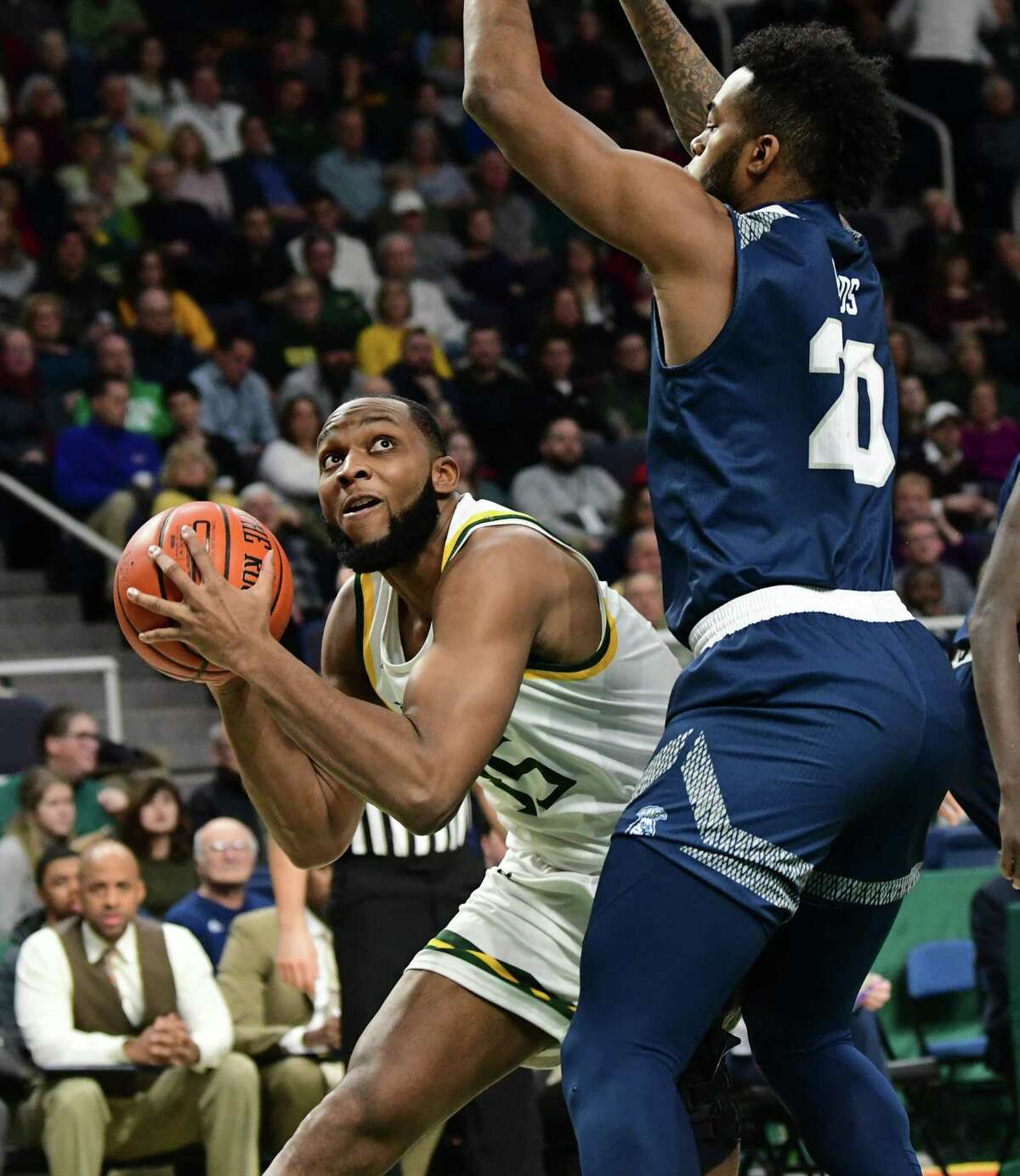 Siena's Sammy Friday drives to the basket during a game against Saint Peter's at the Times Union Center on Thursday, Jan. 9, 2020 in Albany, N.Y. (Lori Van Buren/Times Union)