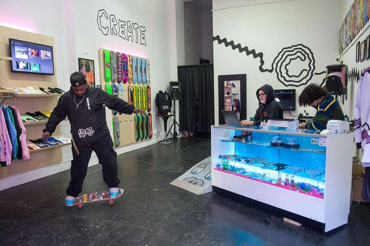 Frederick Beasley, Create Team, skates at the recently opened store Create Skate. San Francisco has a storied history of skating that reached peak popularity in the 1990s but subsided over the years. There is clearly a resurgence, at least in retail, in the sport much to the delight of local skaters and fans. On Thursday, January 9, 2020.