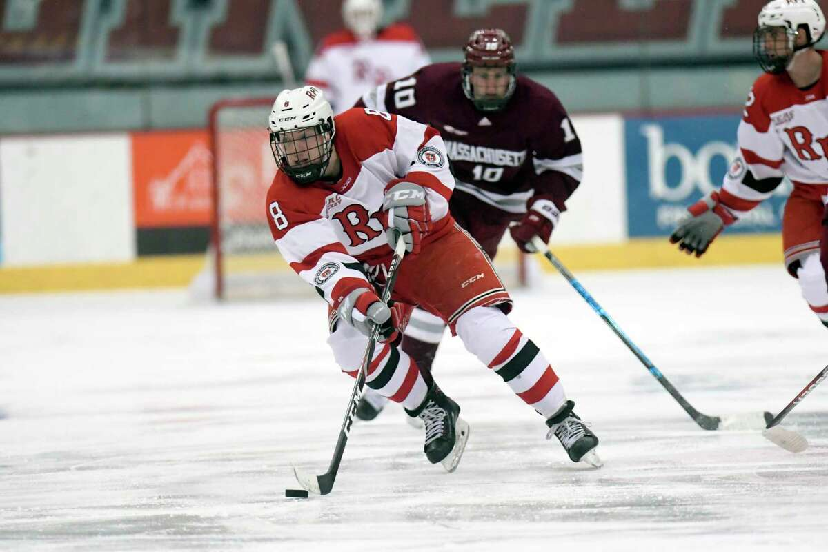 Rensselaer Polytechnic Institute forward Mike Gornall (8) skates with the puck against Massachusetts during the second period of an NCAA college hockey game Sunday, Dec. 29, 2019, in Troy, N.Y. (Hans Pennink / Special to the Times Union) ORG XMIT: 123019_rpi_HP107