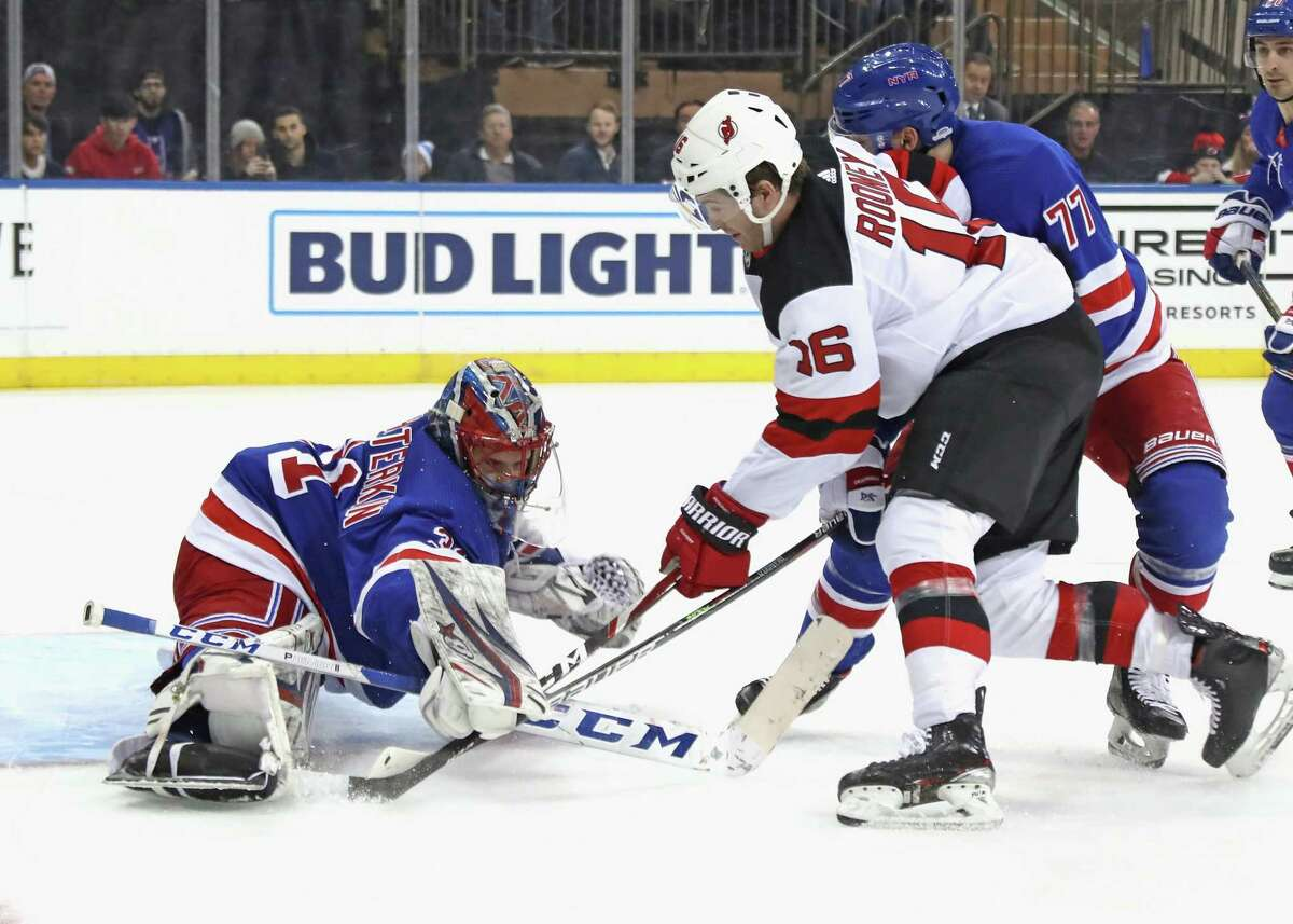 NEW YORK, NEW YORK - JANUARY 09: Igor Shesterkin #31 of the New York Rangers tends net against the New Jersey Devils during the first period at Madison Square Garden on January 09, 2020 in New York City. (Photo by Bruce Bennett/Getty Images)